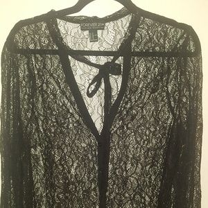 Forever 21 plus lace button up blouse.